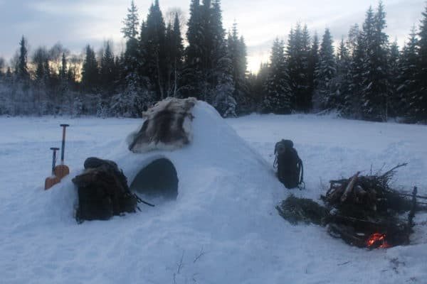 Making a Quinzee (snow shelter) by Jack Hendry
